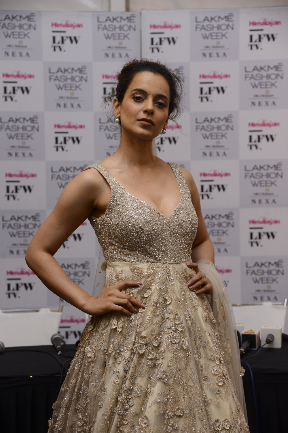 Mumbai: Actress Kangana Ranaut during the Lakme Fashion Week Summer/Resort 2018 in Mumbai on Feb 4, 2018. (Photo: IANS)
