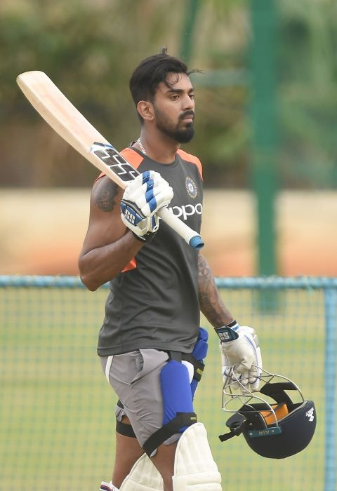 India's Lokesh Rahul during a practice session ahead of their maiden cricket test match against Afghanistan in Bengaluru on June 13, 2018