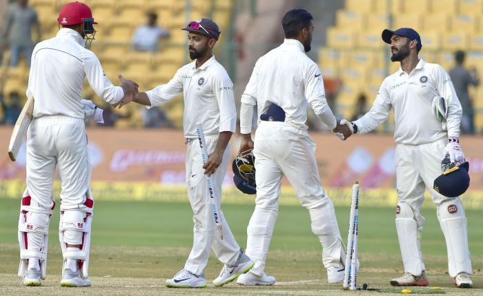 Indian players after winning the one-off test match between India and Afghanistan