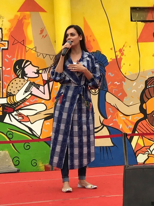 New Delhi: Dia Mirza unveils the first graffiti wall