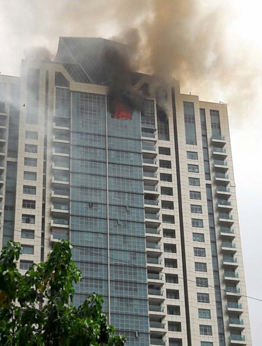 Fire breaks out at Beaumonde Towers in Prabhadevi of Mumbai on June 13, 2018