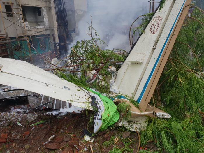 small chartered plane crashed Ghatkopar in north-east Mumbai on June 28, 2018.