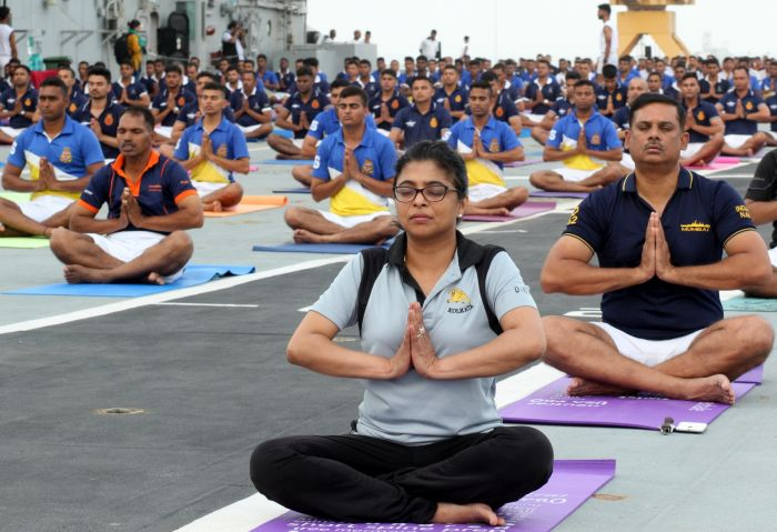 Yoga at INS Viraat, 21 June, 2018
