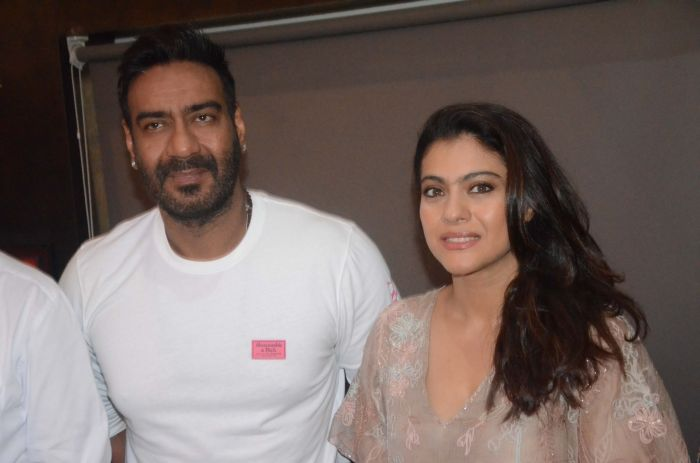 """Ajay Devgan and Kajol during a programme oraganised as a part of """"Plastic Ban Campaign"""" in Mumbai, on June 22, 2018"""