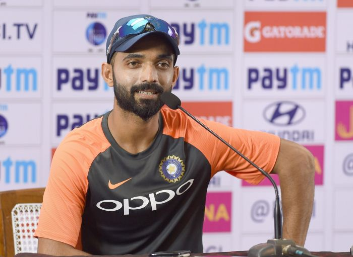 Bengaluru: India's Ajinkya Rahane addresses a press conference ahead of the maiden cricket test match against Afghanistan in Bengaluru on June 12, 2018
