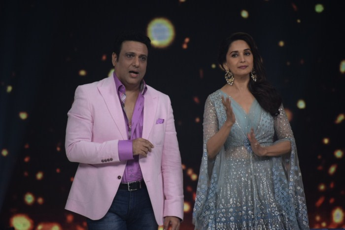 "Actors Govinda and Madhuri Dixit on the sets of reality television show ""Dance Deewane"" in Mumbai, on June 13, 2018."
